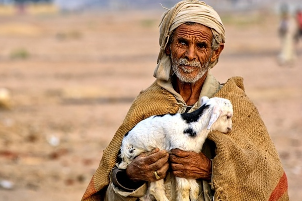 Egyptian man with goat