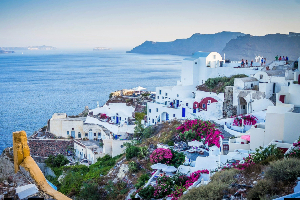 White houses in Santorini, Greece
