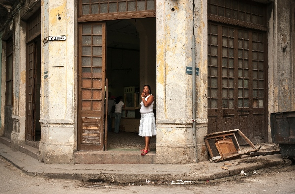 cuban woman in doorway